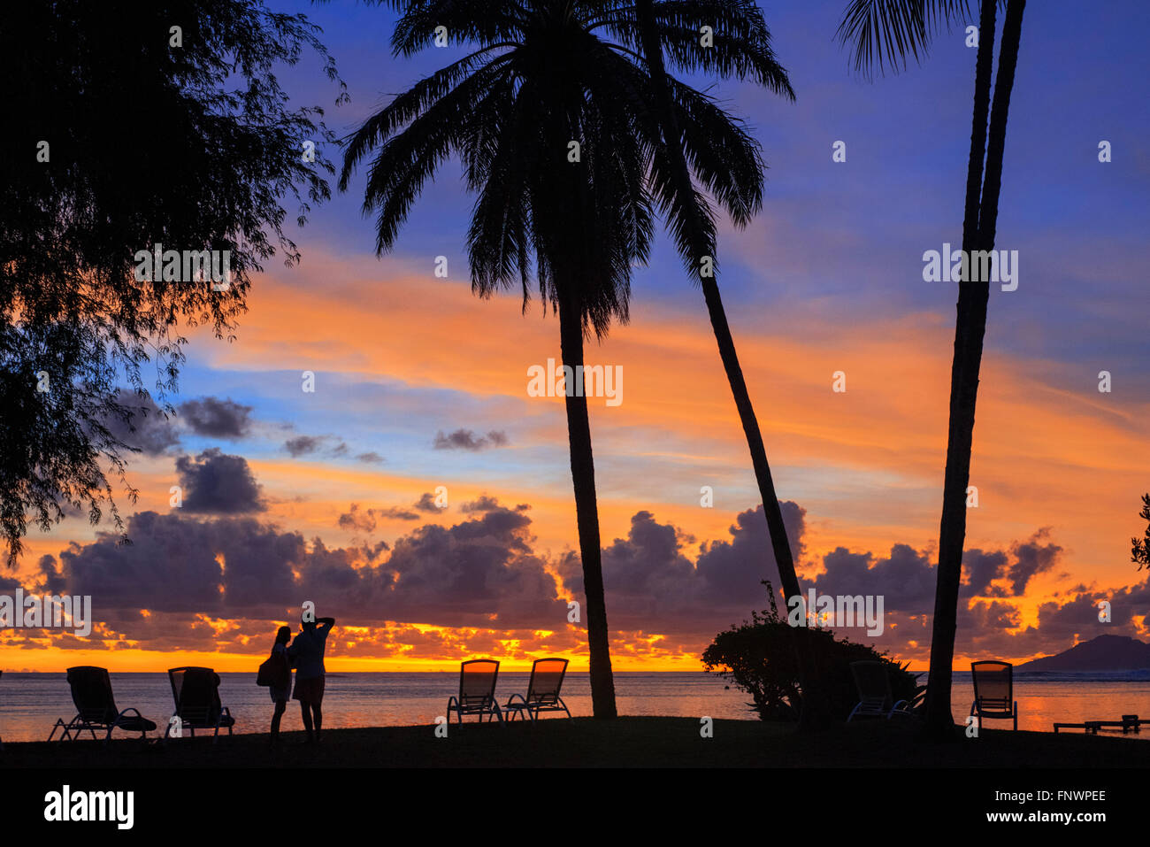 Sunset at Meridien Hotel on the island of Tahiti, French Polynesia, Tahiti Nui, Society Islands, French Polynesia, - Stock Image
