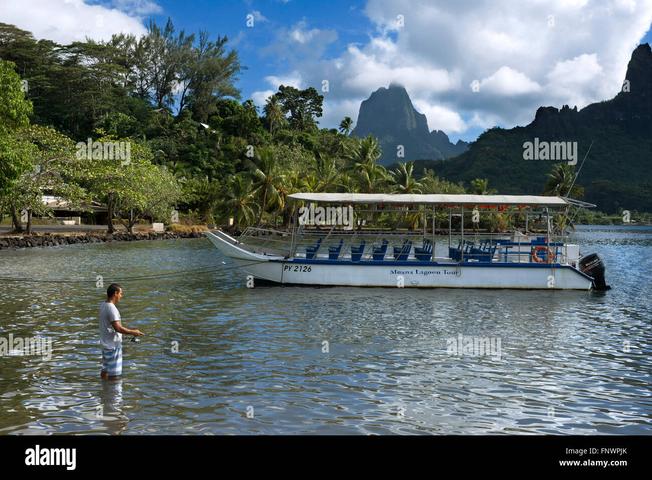 Fisher at Moorea, French Polynesia, Society Islands, South Pacific. Cook's Bay. - Stock Image