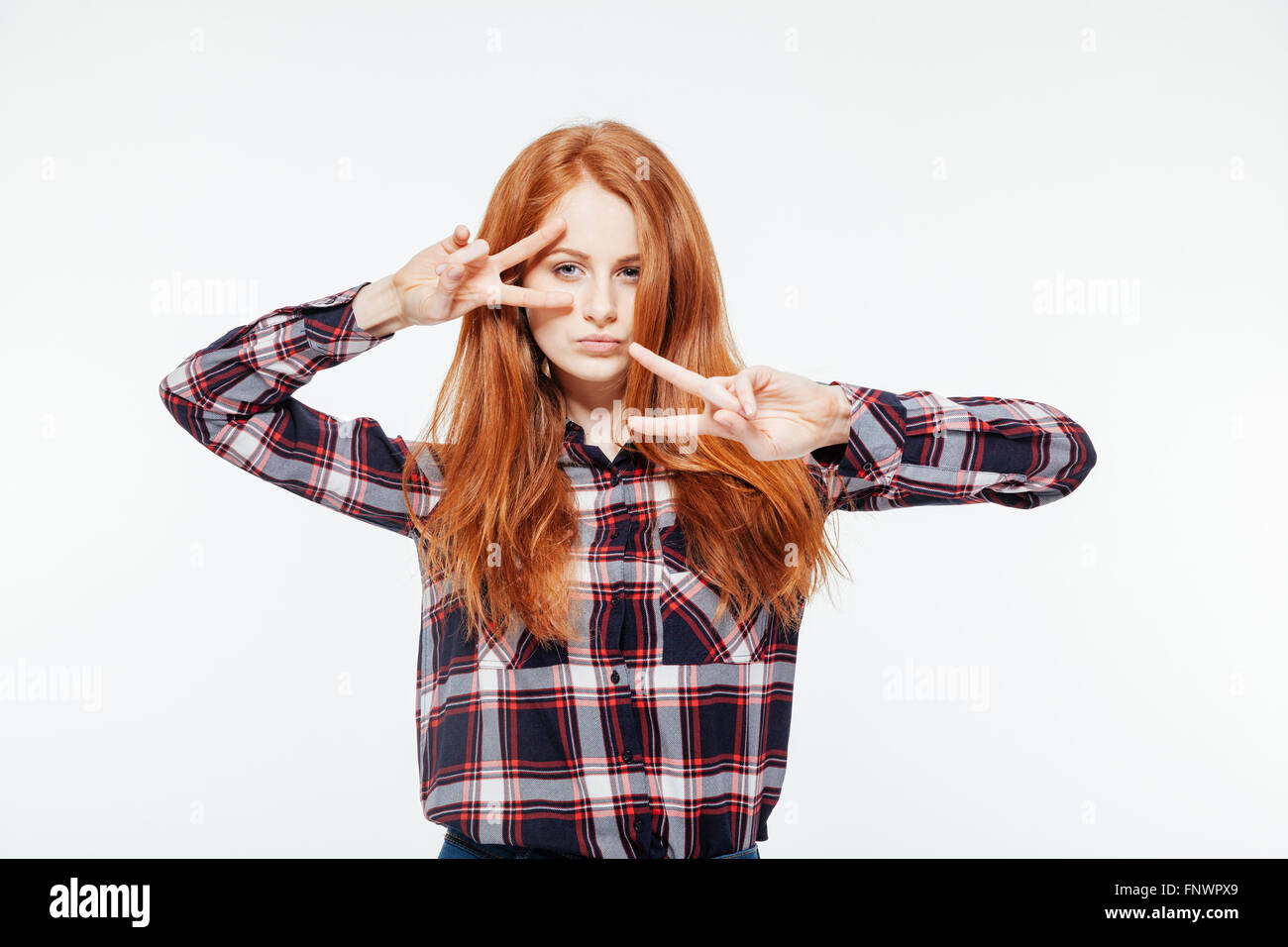 With you redhead woman posing