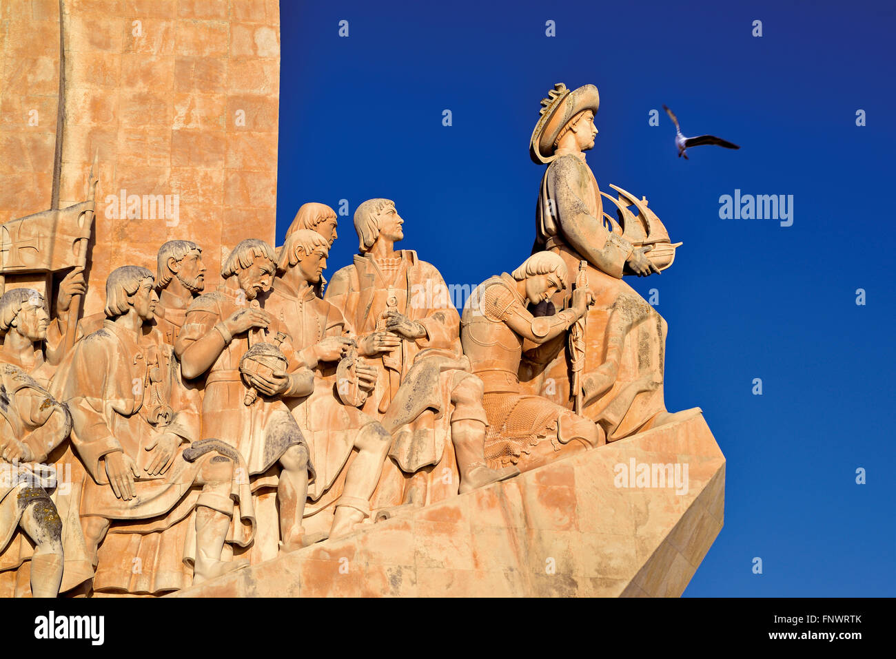 Portugal, Lisbon: Henry the Navigator leading  the figure group of the Discovery´s Monument in Belém - Stock Image