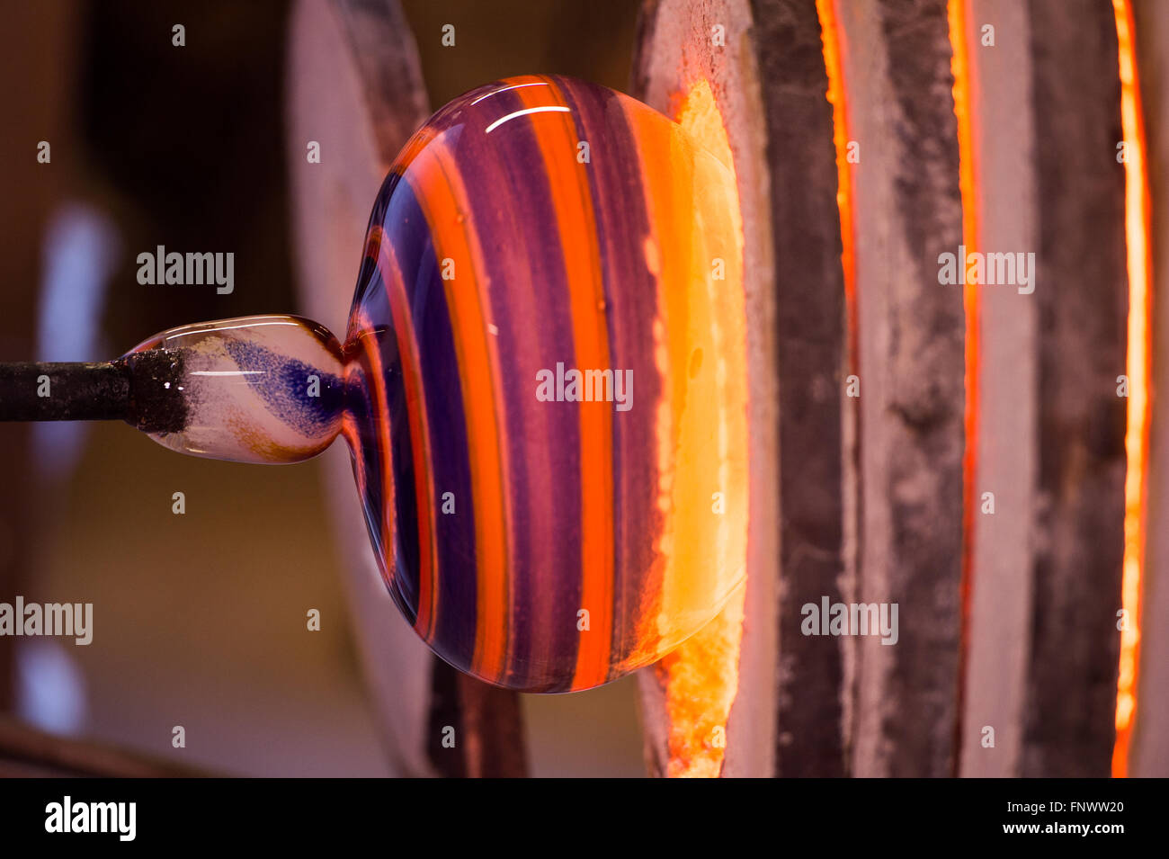 Glass Blower, Glass, Blown Glass Manufacturing Plant - Stock Image