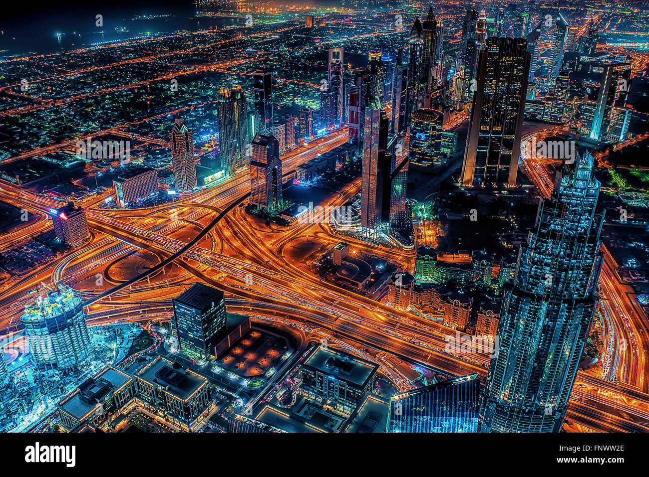 Dubai city at night - Stock Image