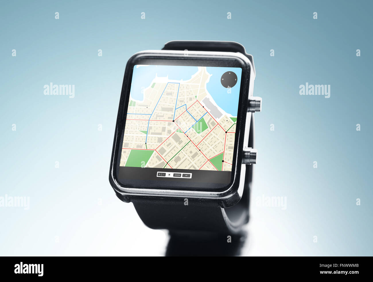close up of smart watch with gps navigation app - Stock Image