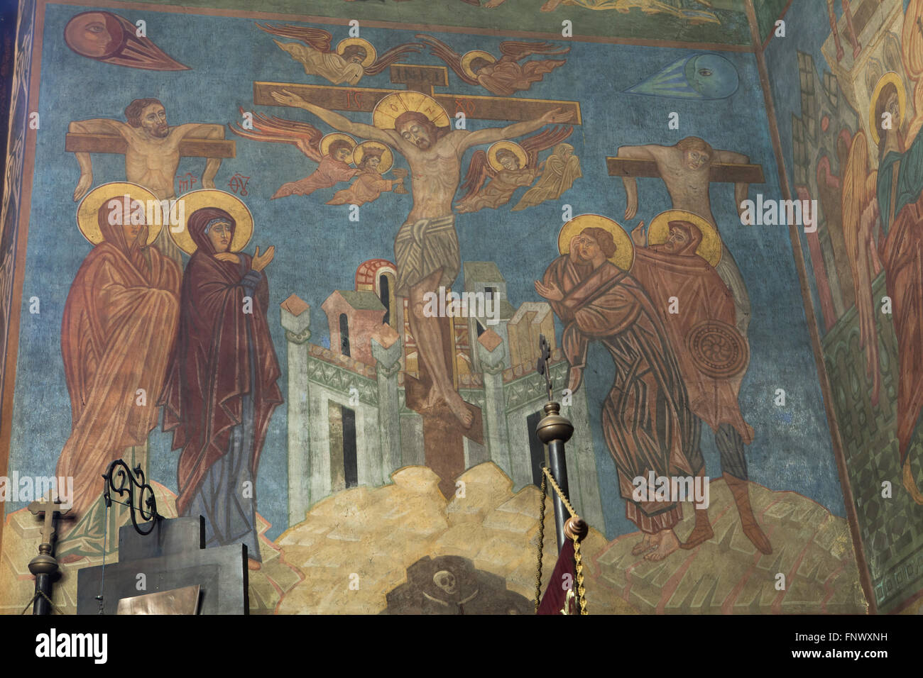 The Crucifixion. Mural painting by Russian icon painter Ilya Shapov (1912-1989) in the Dormition Church at the Olsany Stock Photo