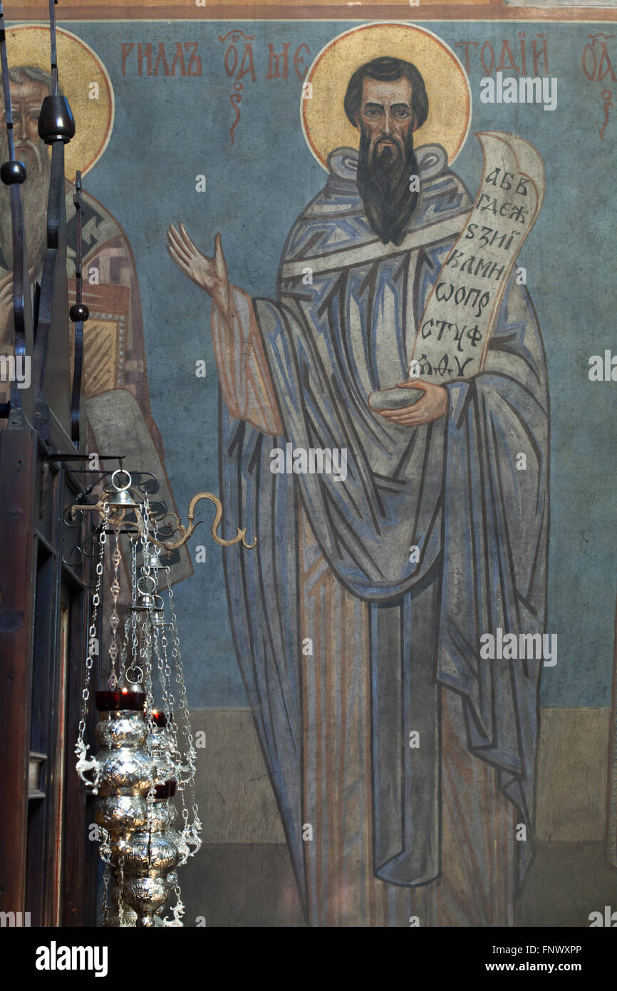 Saint Methodius. Mural painting by Russian icon painter Andrei Ryazanov (1885-1950) in the Dormition Church at the - Stock Image