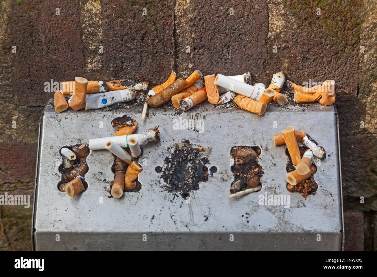 City of London  A wall-mounted receptacle for cigarette ends in the churchyard of St Anne and St Agnes - Stock Image
