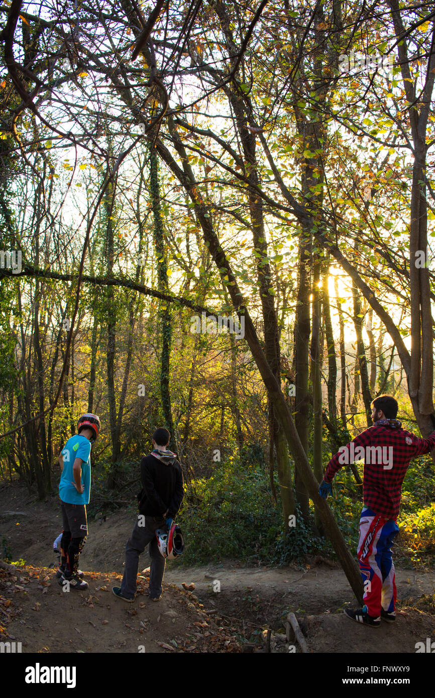 Boys and MTB. Italy, 2015. - Stock Image