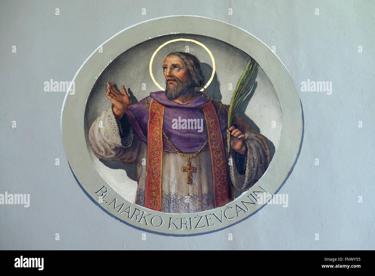 Saint Marko Krizin, fresco in the Basilica of the Sacred Heart of Jesus in Zagreb, Croatia - Stock Image