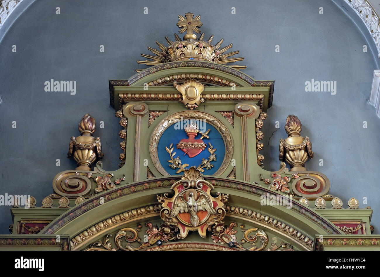 Our Lady, altar in the Basilica of the Sacred Heart of Jesus in Zagreb, Croatia - Stock Image