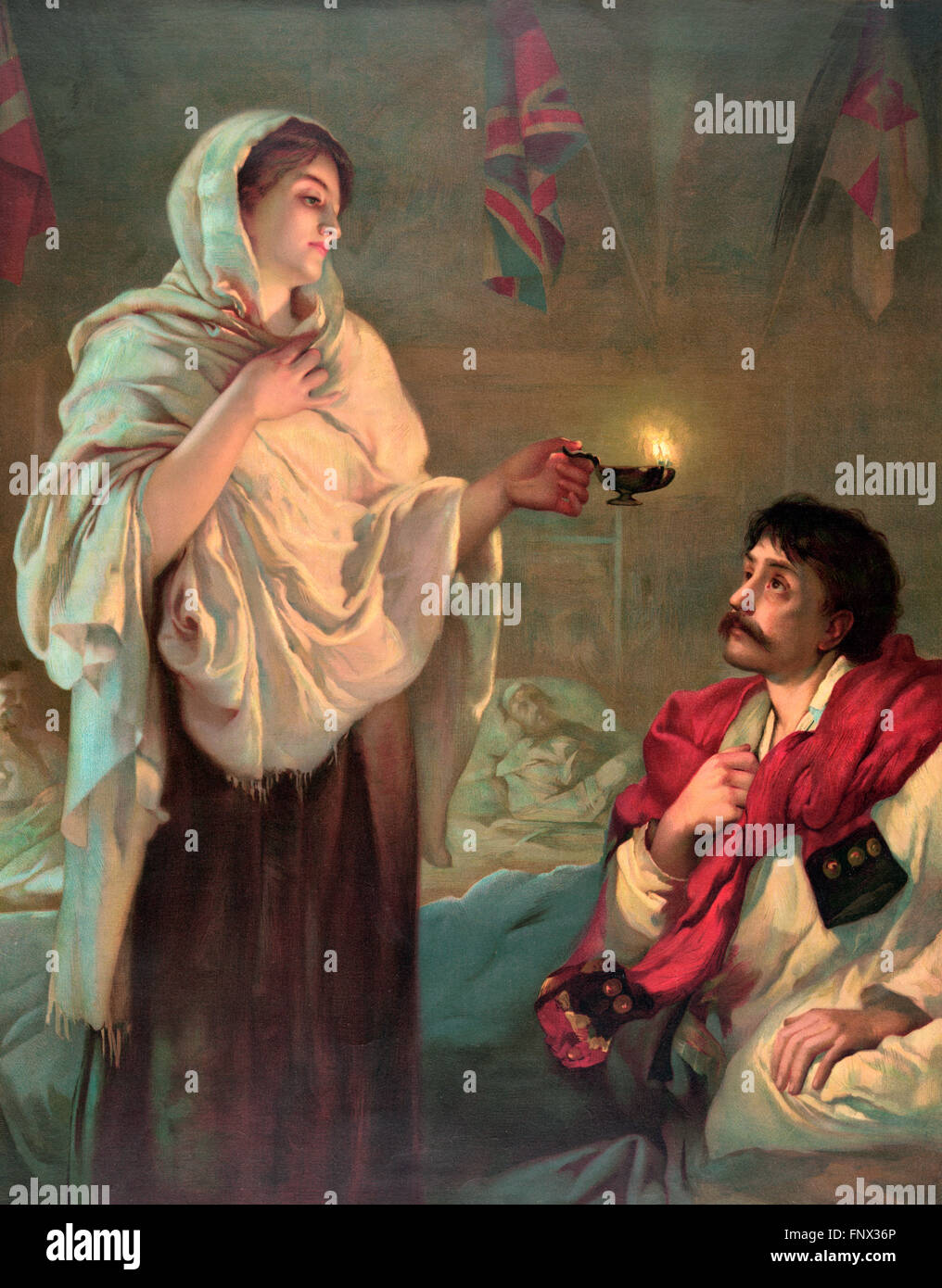 Florence Nightingale at Scutari, 1854. 'The Lady with the Lamp', an 1891 print from the painting by Henrietta - Stock Image