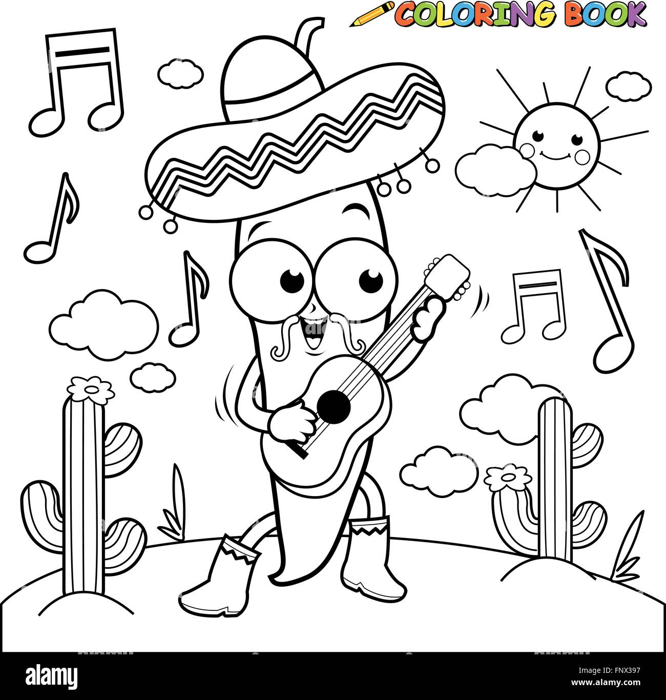 Mariachi chili pepper playing the guitar coloring page Stock ...