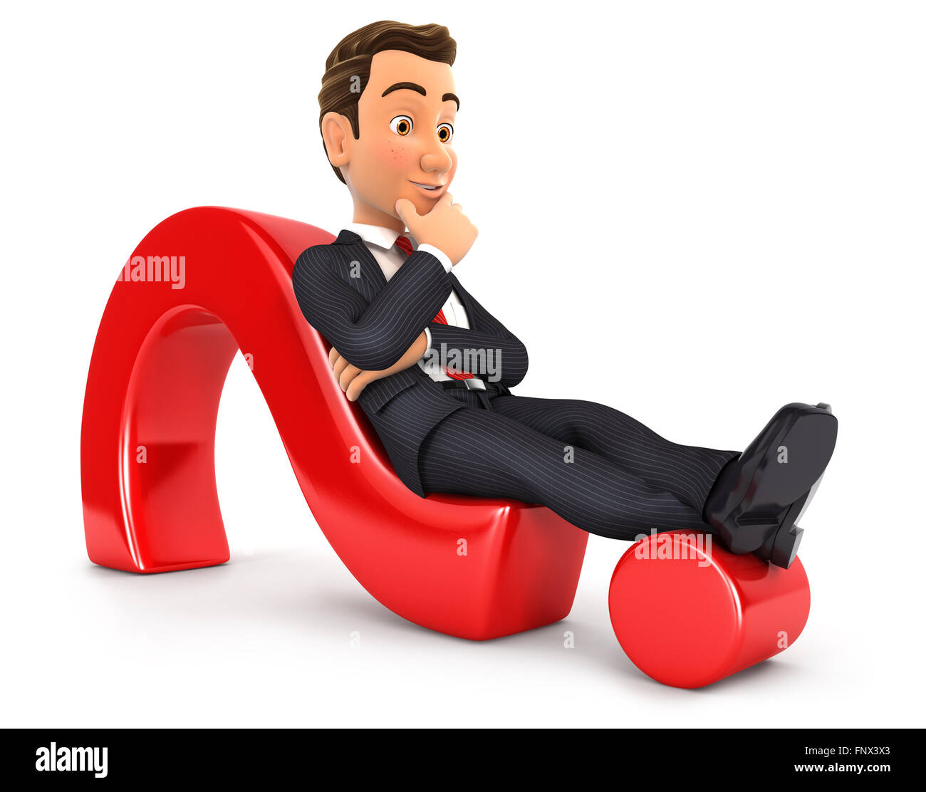 3d businessman lying on question mark, isolated white background Stock Photo
