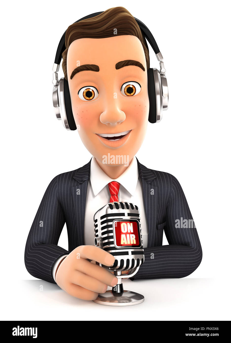 3d businessman radio presenter on air, isolated white background Stock Photo