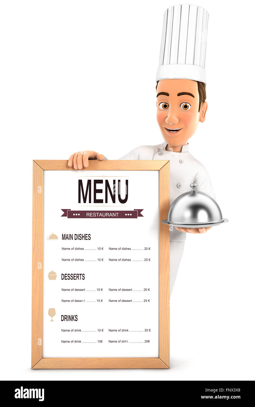 3d head chef with the restaurant menu and holding cloche, isolated white background Stock Photo