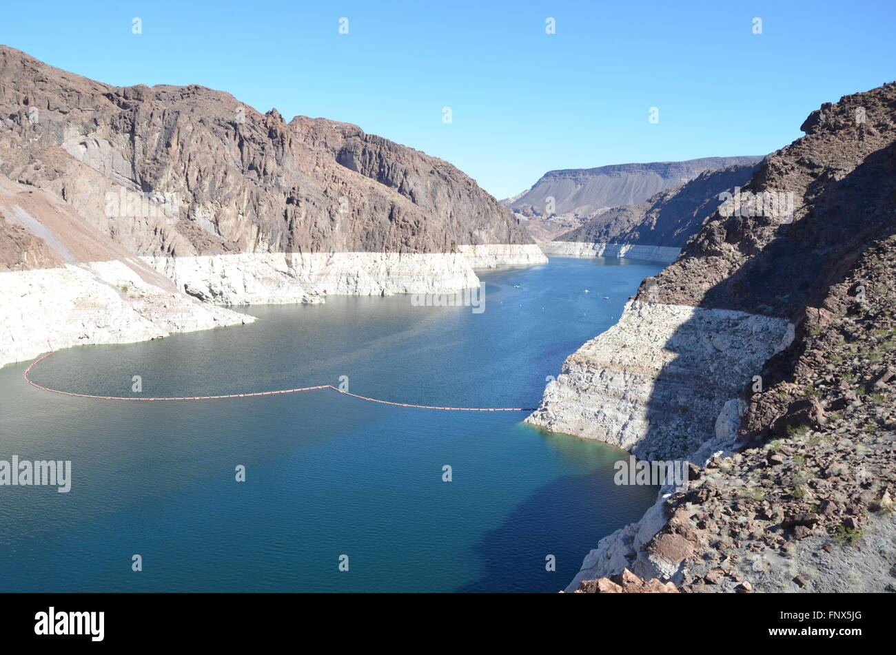 View of a component of the Hoover Dam facility on the border of Nevada and Arizona Stock Photo