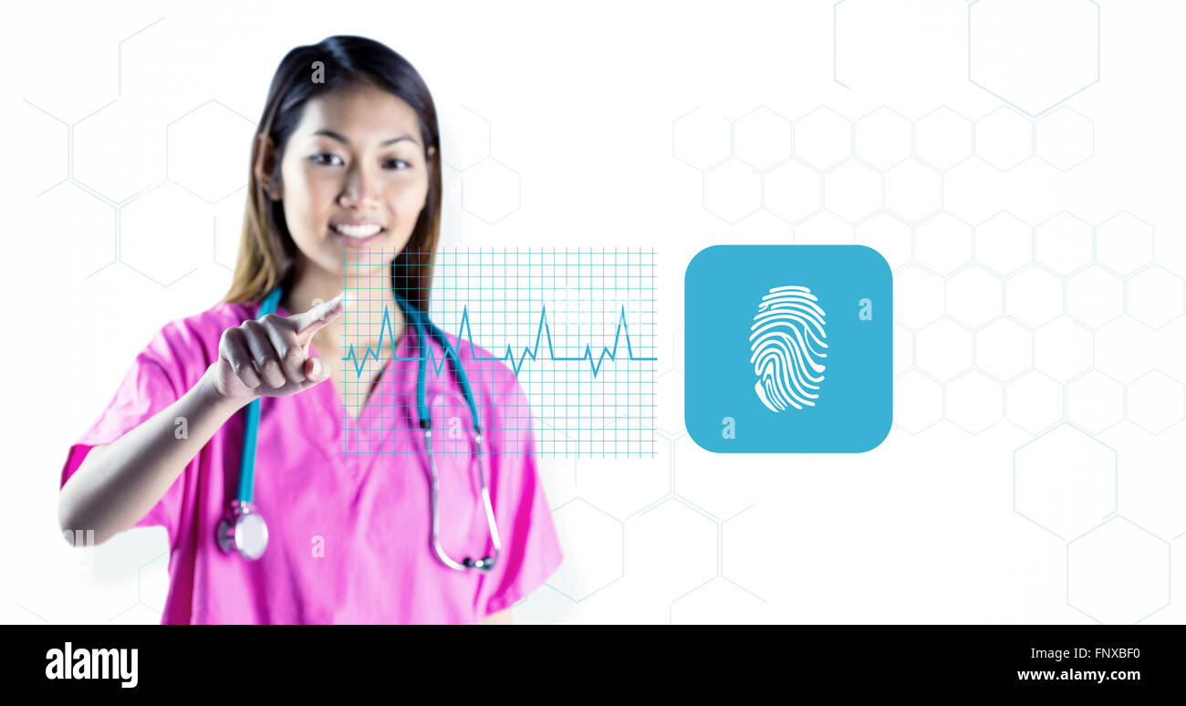 Composite image of asian nurse with stethoscope pointing in front of her Stock Photo