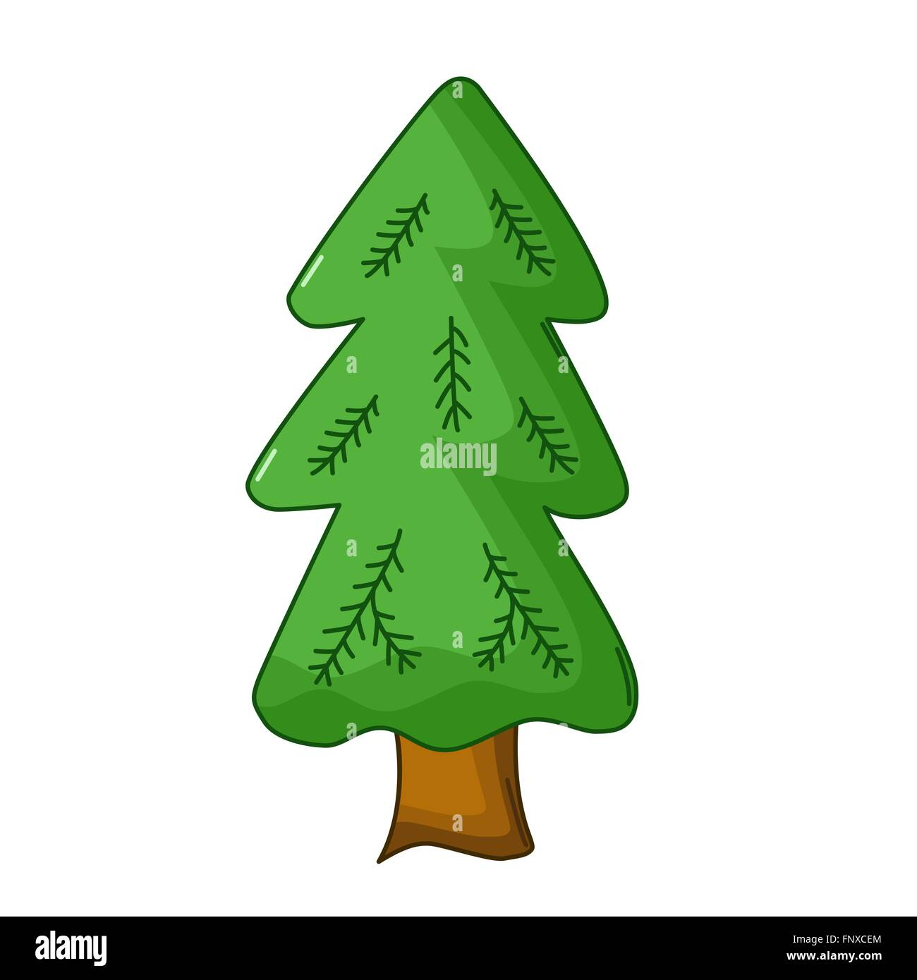 Spruce tree icon in cartoon style isolated on white background - Stock Vector