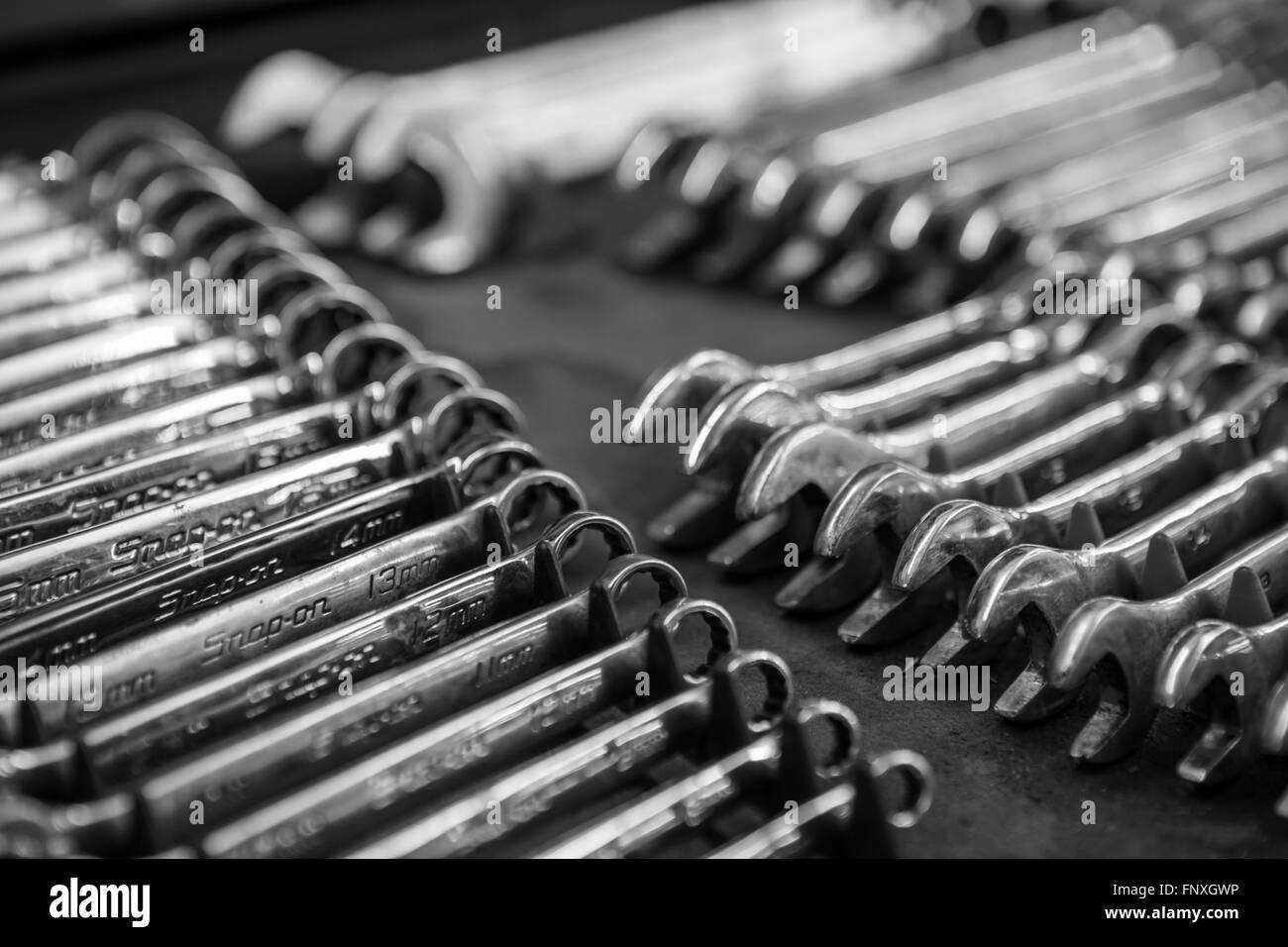 a mechnics sockets and spanner tools Stock Photo