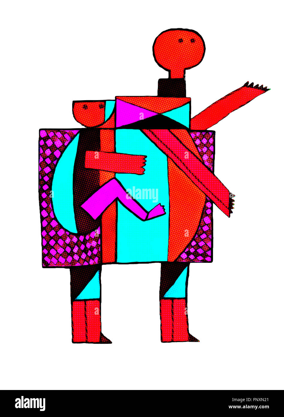 Mother carrying  a child on her back in abstract geometrical illustration, expressing love and devotion. Playful - Stock Image