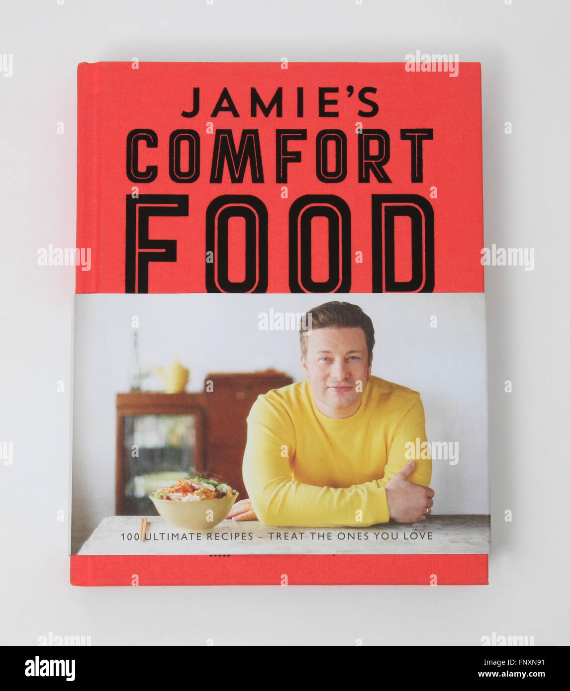 A cookery book called Jamie's Comfort Food by Jamie Oliver. - Stock Image