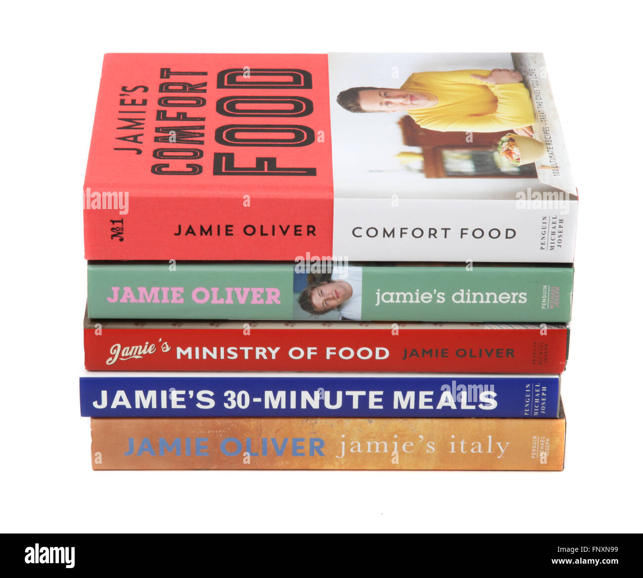 A selection of Jamie Oliver cookery books. - Stock Image