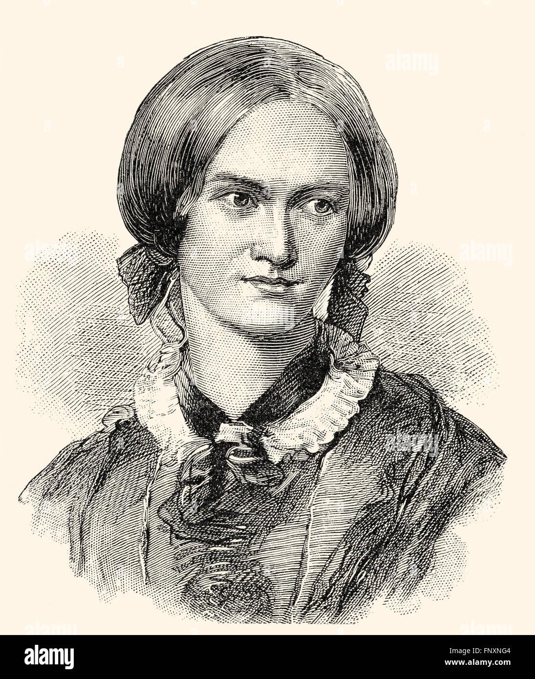 Charlotte Brontë, 1816-1855, an English novelist and poet, Stock Photo
