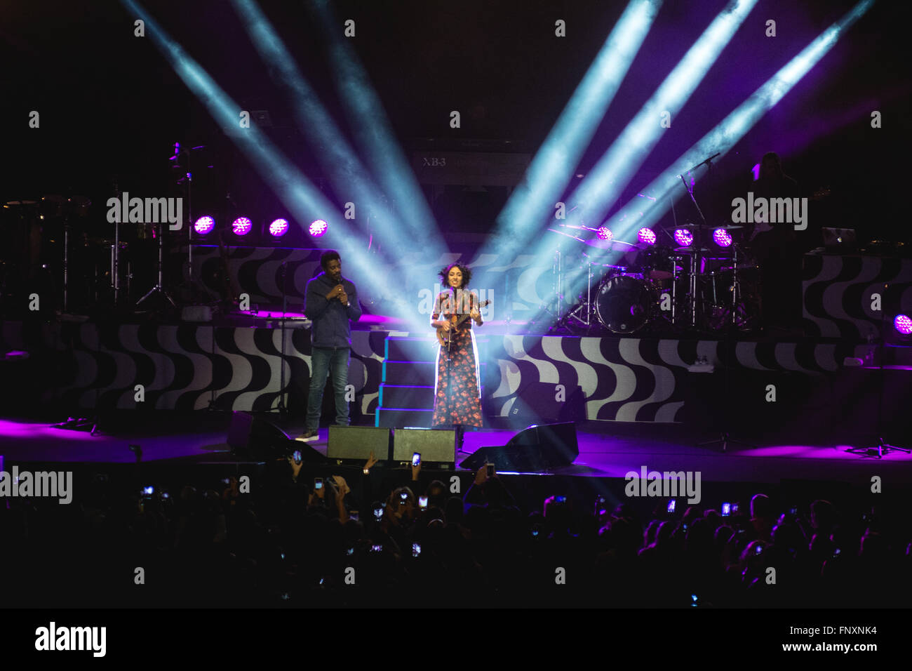 Seu Jorge and Marisa Monte live at Meo Arena, Lisboa, Portugal - Stock Image