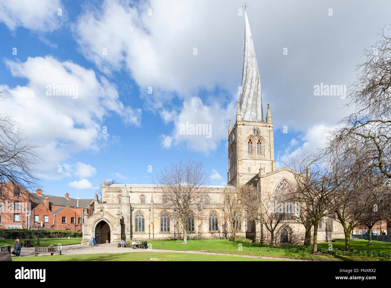 St Mary and All Saints Church with its famous crooked spire, Chesterfield, Derbyshire, England, UK - Stock Image