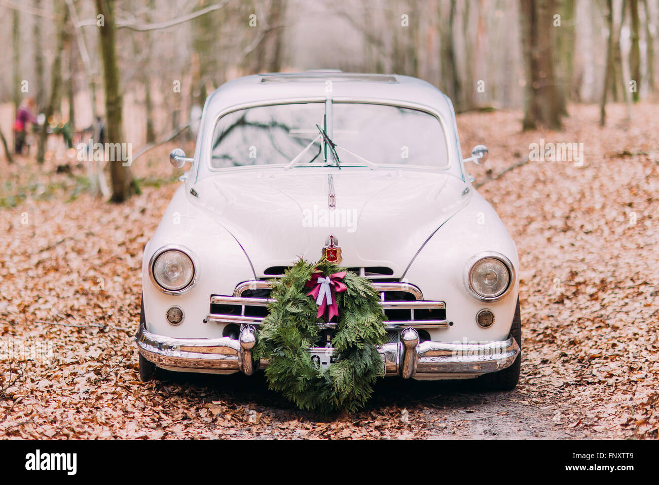 White vintage wedding car decorated with wreath in the autumn forest ...