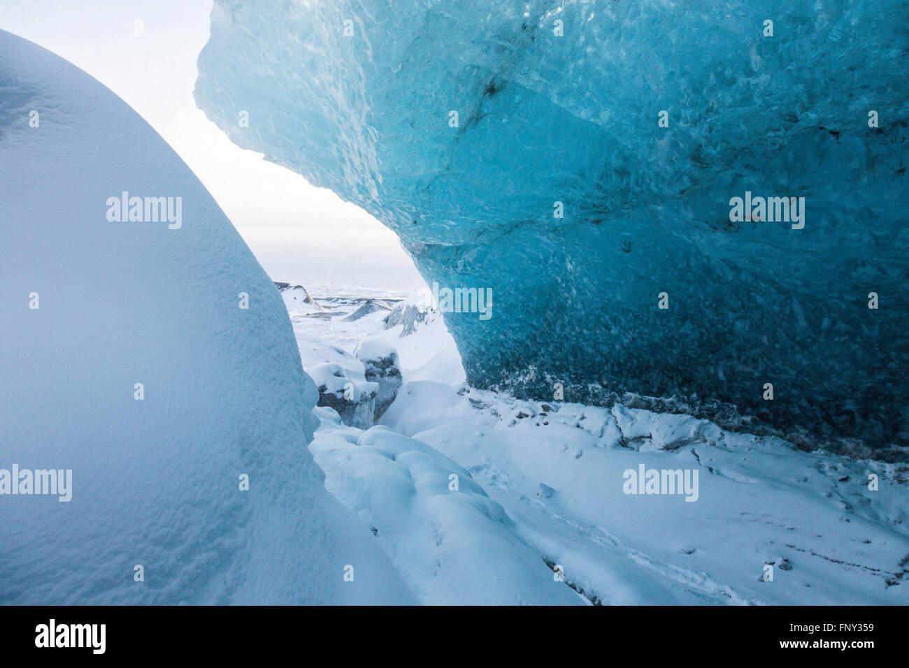 Ice cave, Entrance, Vatnajökull Nationalpark, Glacier, Iceland - Stock Image