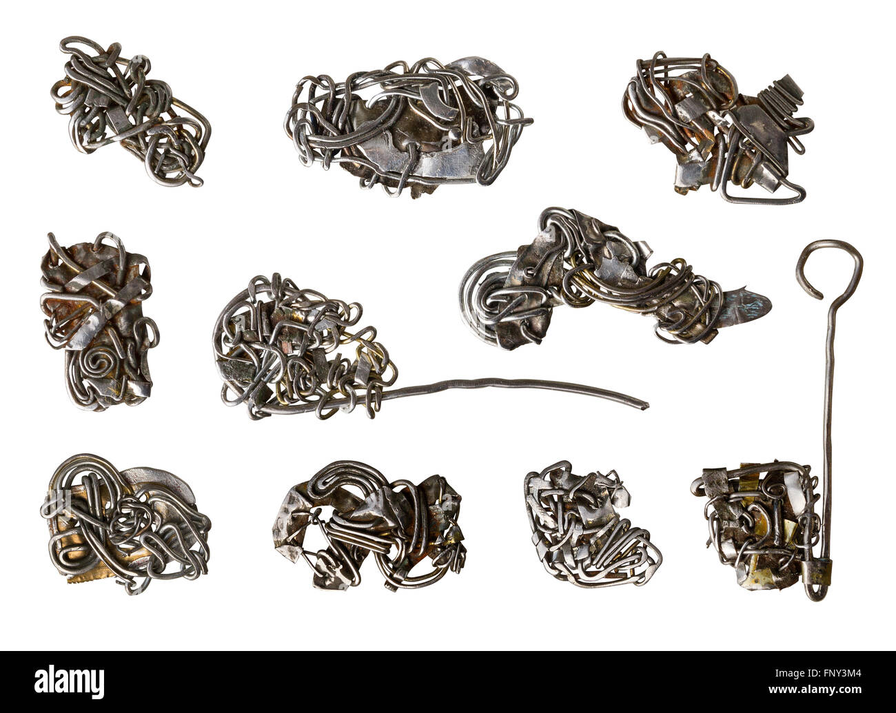 Handmade abstract steampunk rusty wire jewellery set. Isolated on white - Stock Image