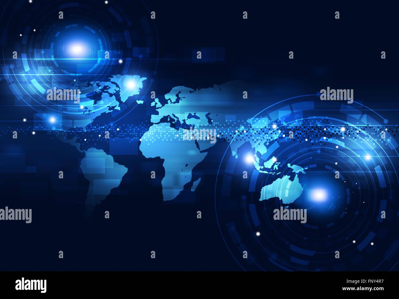 digital world of business technology communications blue background - Stock Image