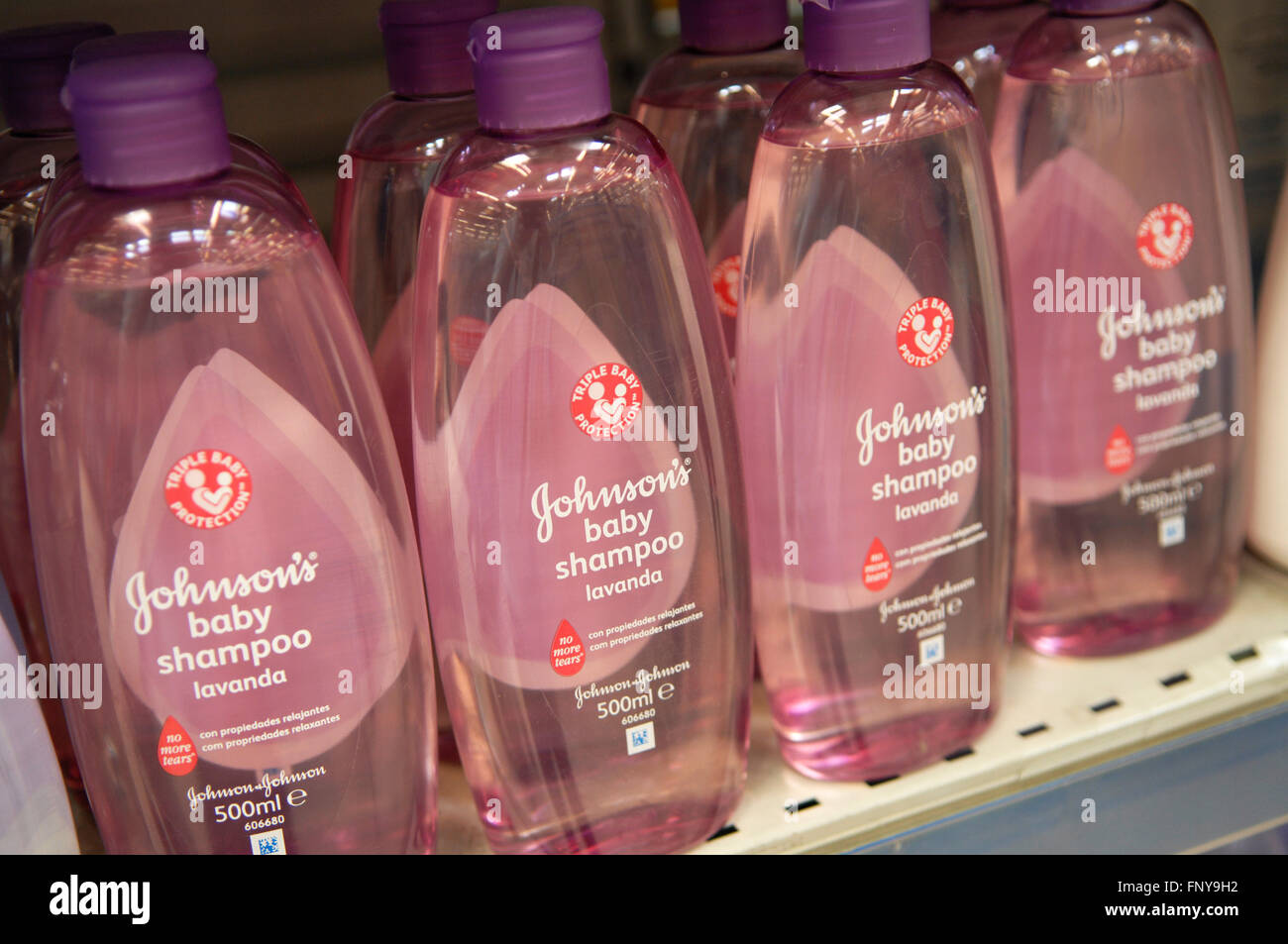 Johnson's Baby Shampoo displayed in a Carrefour Supermarket in Malaga Spain. - Stock Image