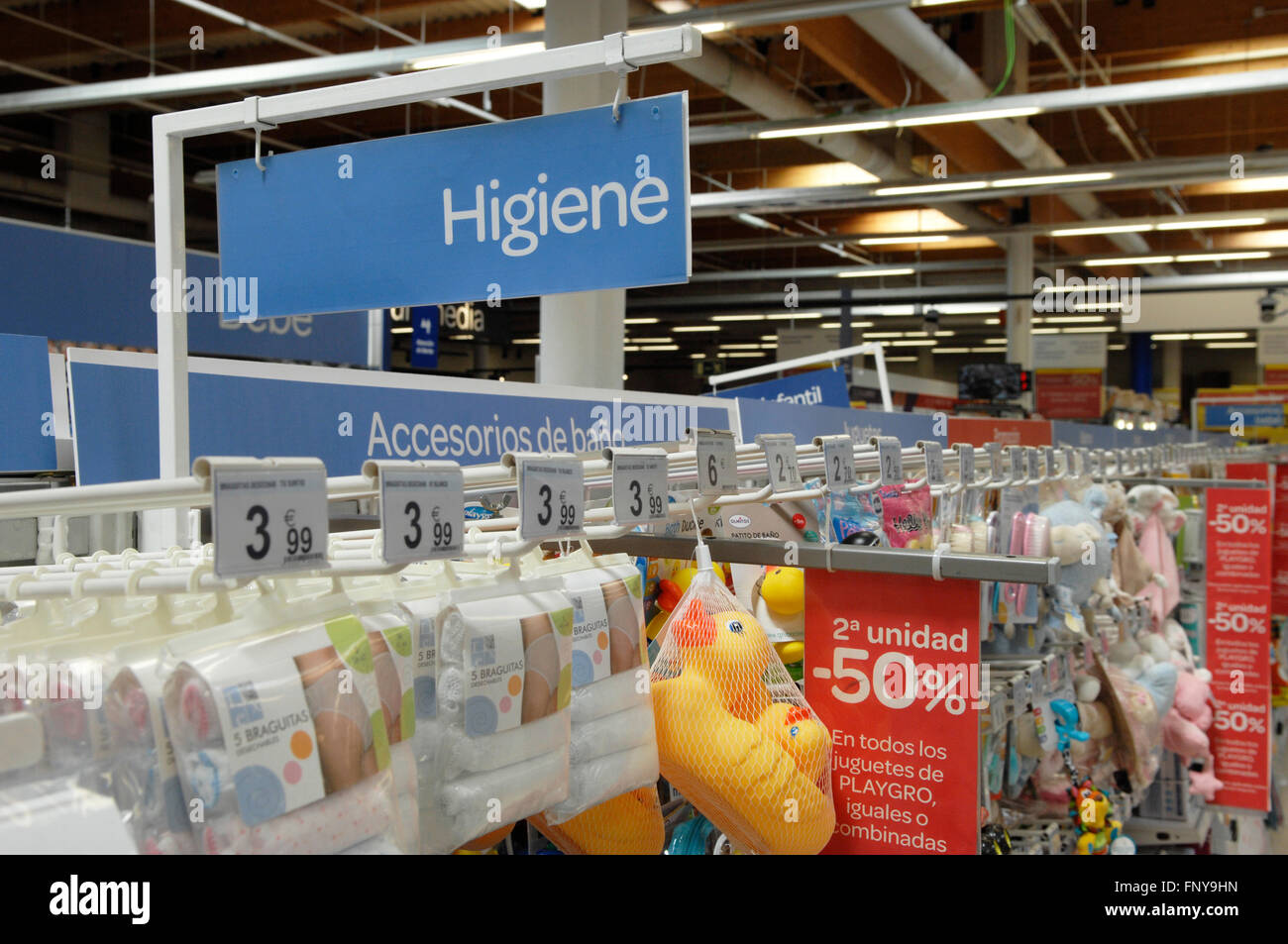 Baby products section of a Carrefour Hypermarket in Malaga Spain Stock Photo
