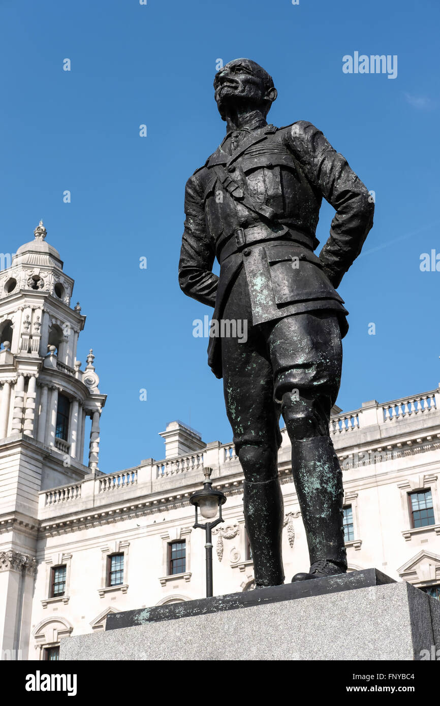 Statue of Jan Christian Smuts in Parliament Square London - Stock Image