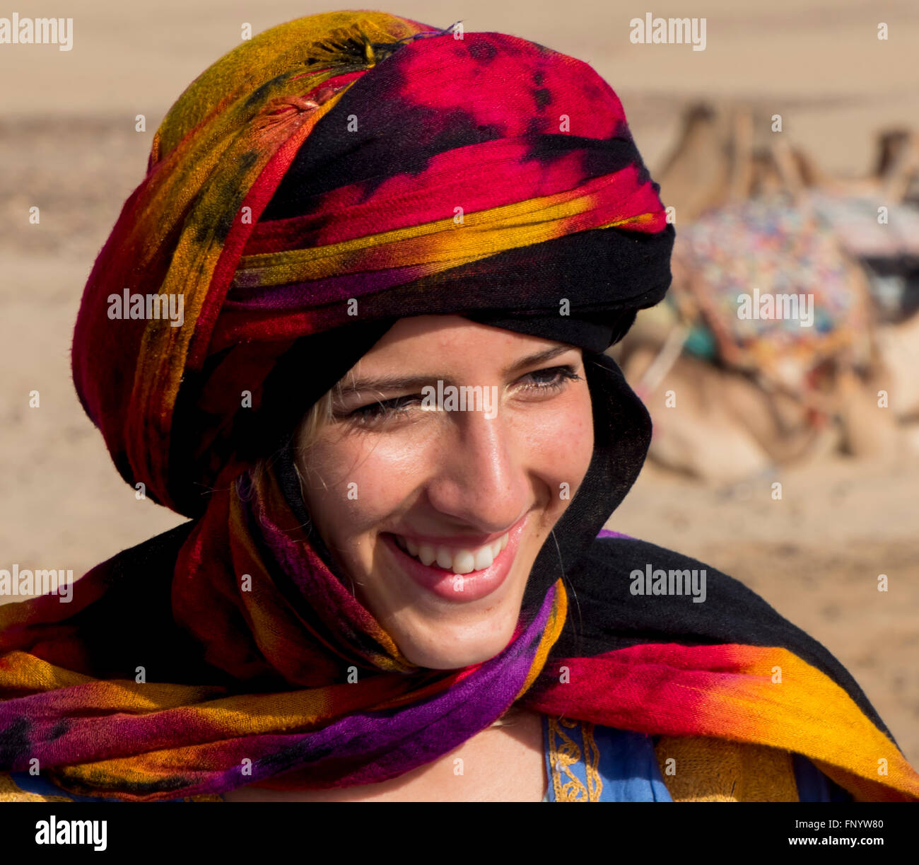 cool girl and Berber cheche headress - Stock Image