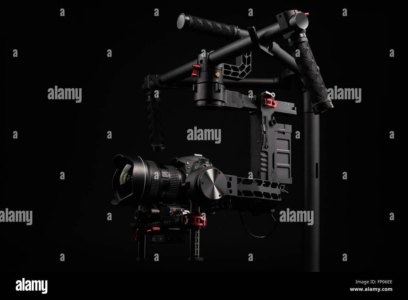 Professional camera set on a 3-axis gimbal - Stock Image