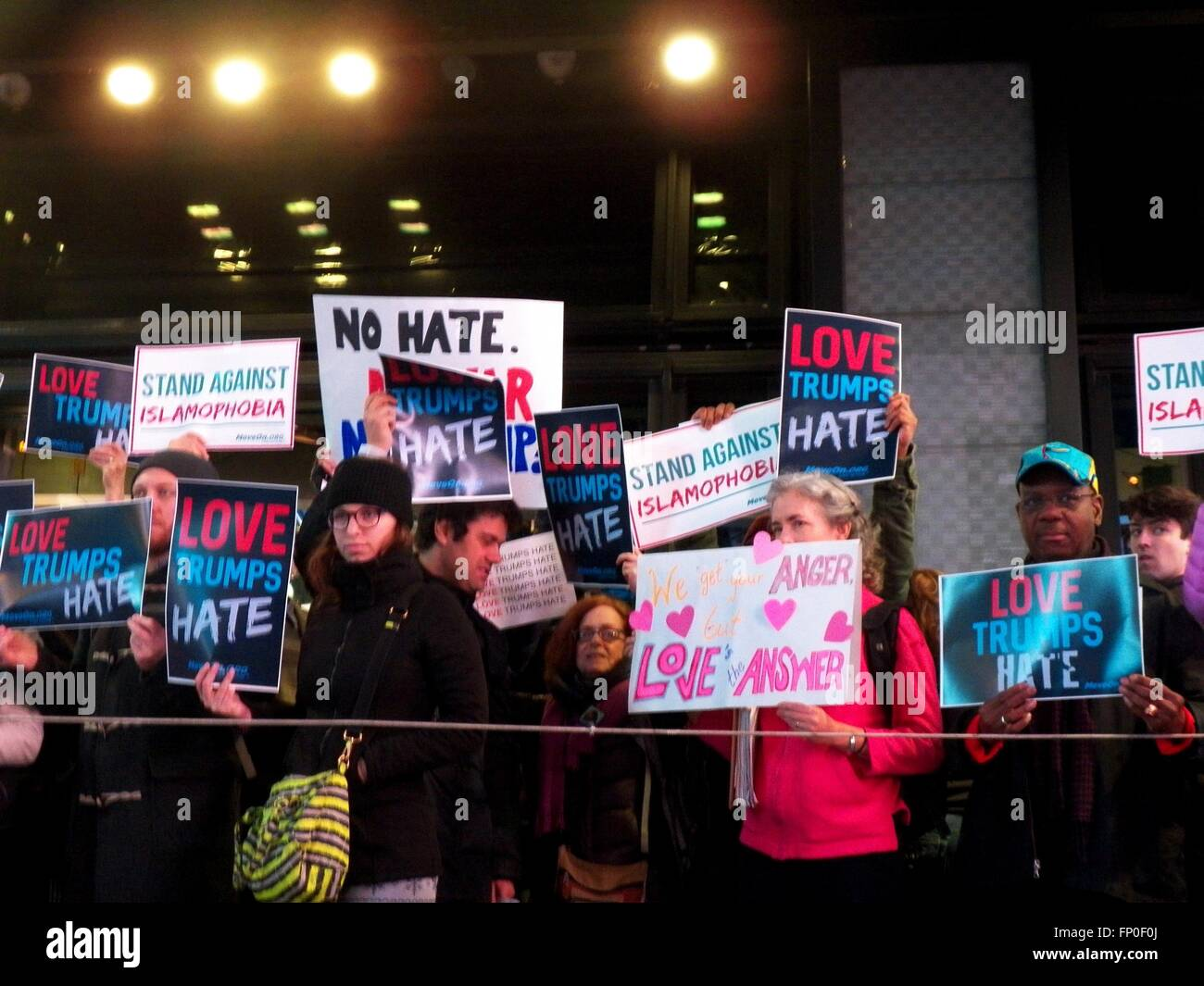 New York, USA. 16th Mar, 2016. Today outside the Good Morning America Studios in Time Square, a counter/anti-Trump - Stock Image