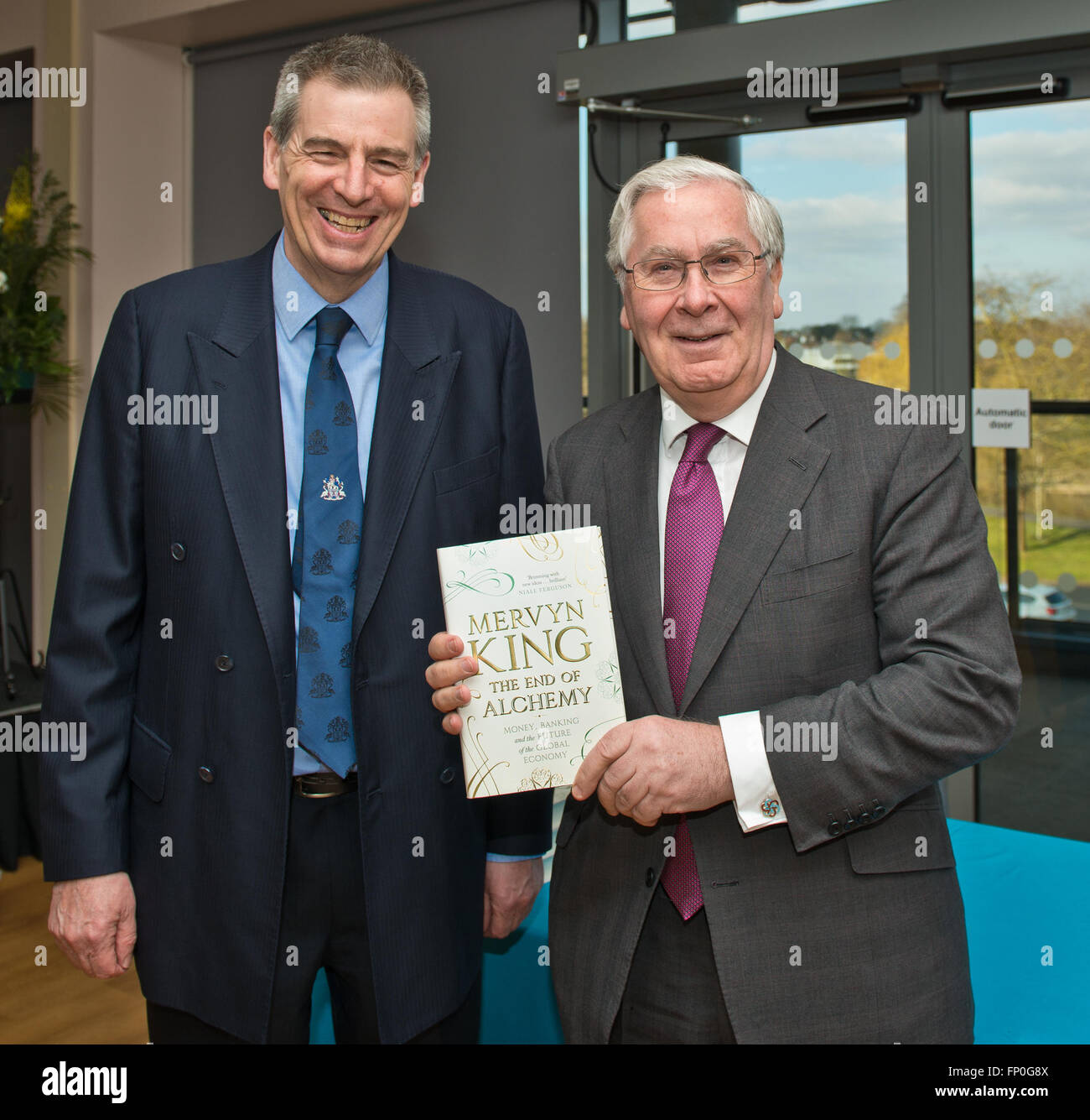 Worcester, UK. 16th March, 2016. University Arena.Lord Mervyn King, former Governor of the Bank of England, will - Stock Image