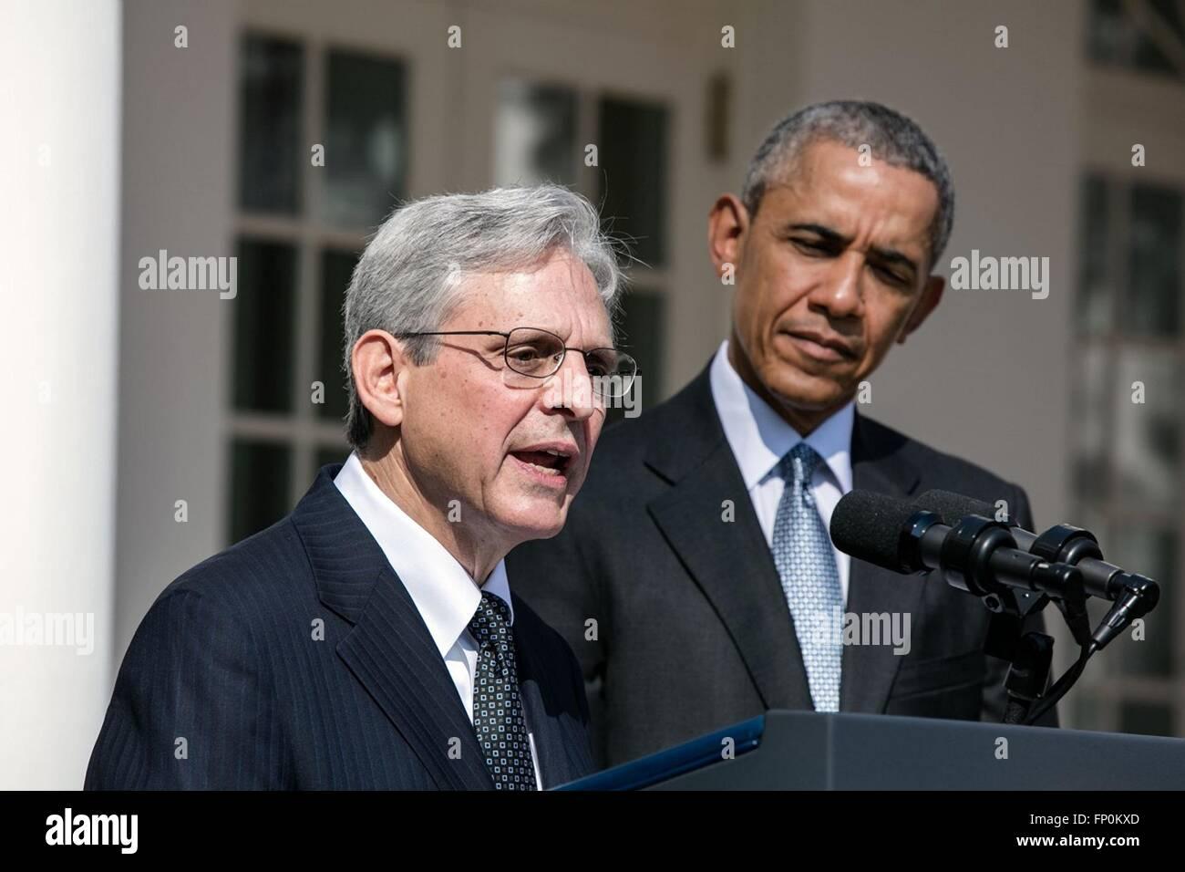 Washington DC, USA. 16th March, 2016. U.S. President Barack Obama listens to Chief Judge Merrick B. Garland make - Stock Image