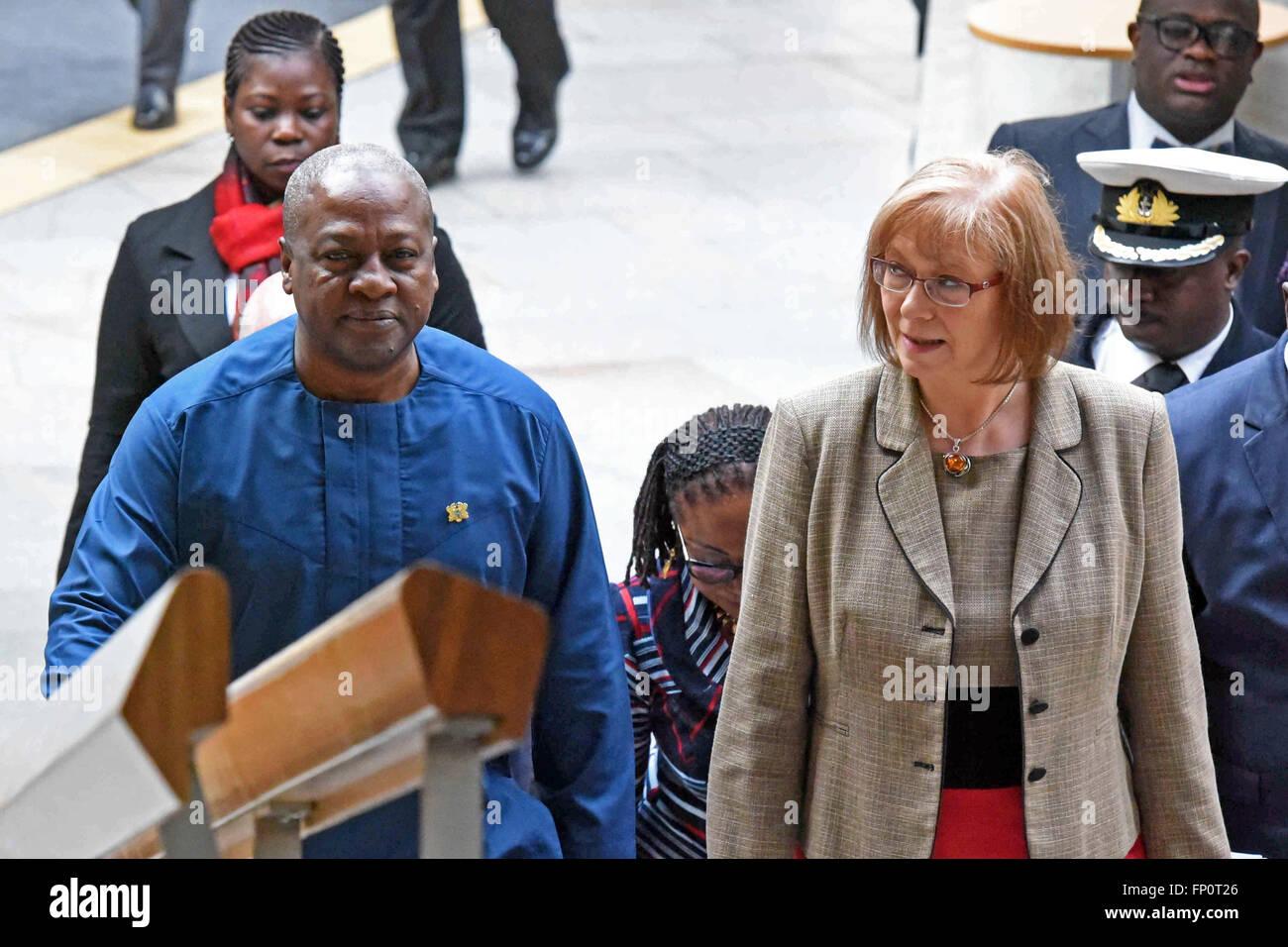 Edinburgh, Scotland, United Kingdom, 17, March, 2016. The President of Ghana, John Dramani Mahama, is accompanied - Stock Image