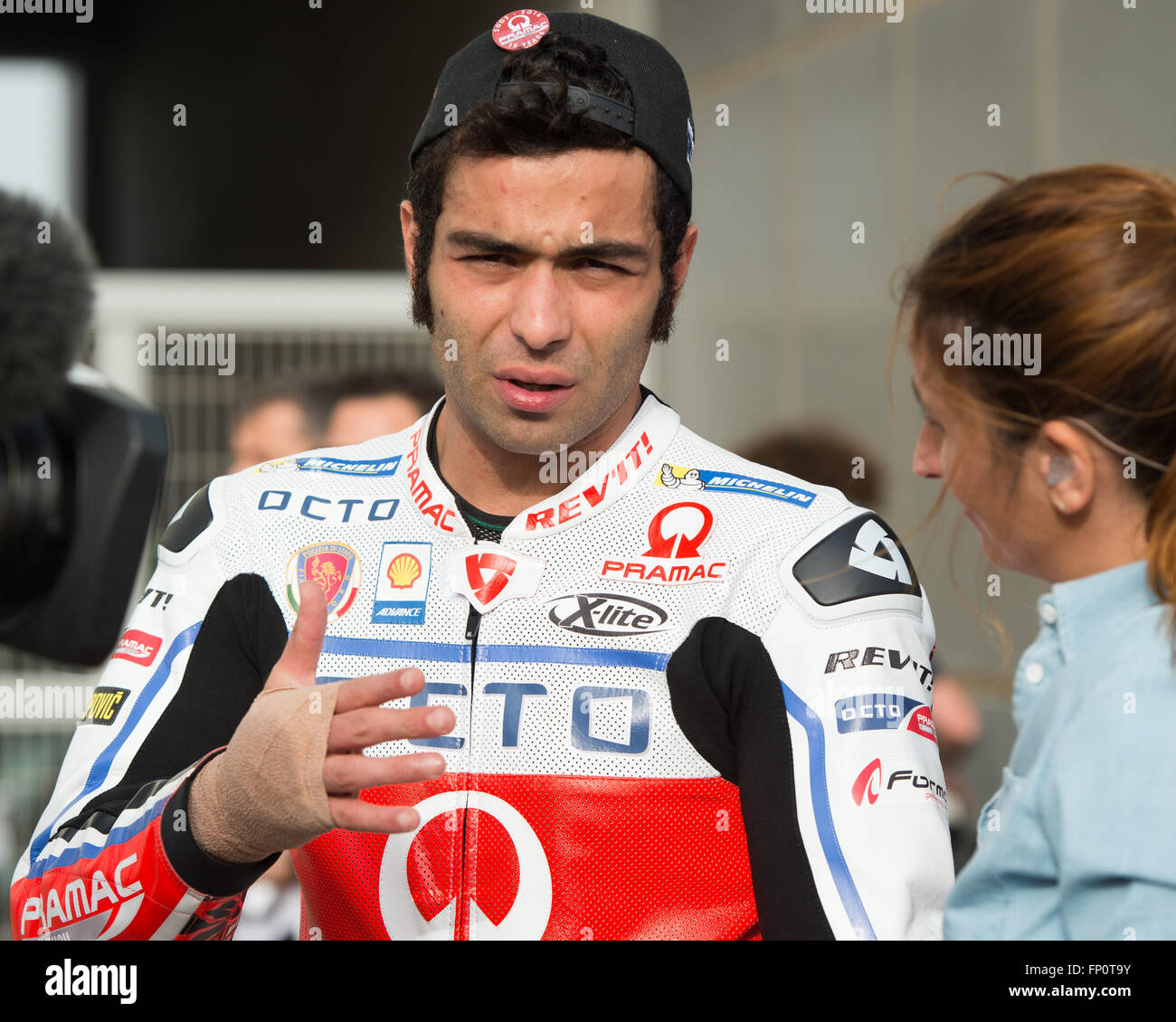 Qatar. 17th Mar, 2016. Danilo Petrucci  attends the group photo and media sessions before the start of the Commercial - Stock Image