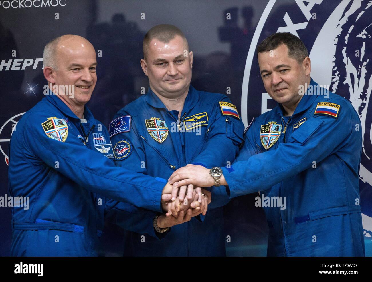 Baikonur, Kazakhstan. 17th Mar, 2016. International Space Station Expedition 47/48 main crew members, astronaut - Stock Image