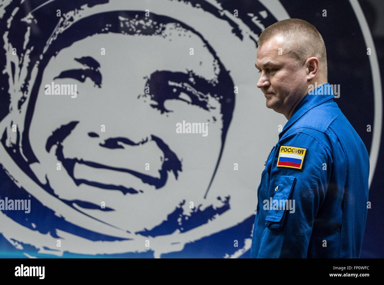 Baikonur, Kazakhstan. 17th Mar, 2016. International Space Station Expedition 47/48 main crew member, cosmonaut Alexei Stock Photo