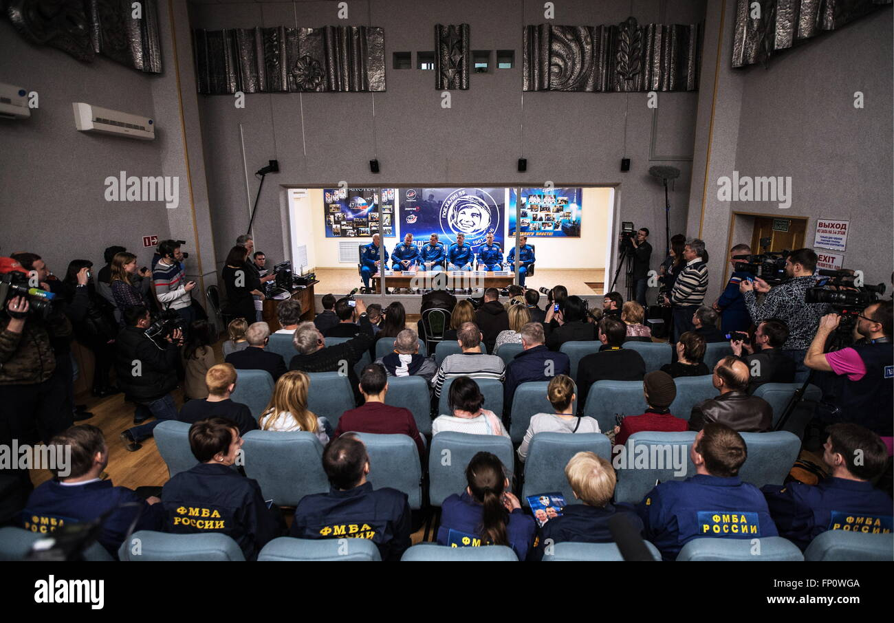 Baikonur, Kazakhstan. 17th Mar, 2016. International Space Station Expedition 47/48 main crew members (background) - Stock Image