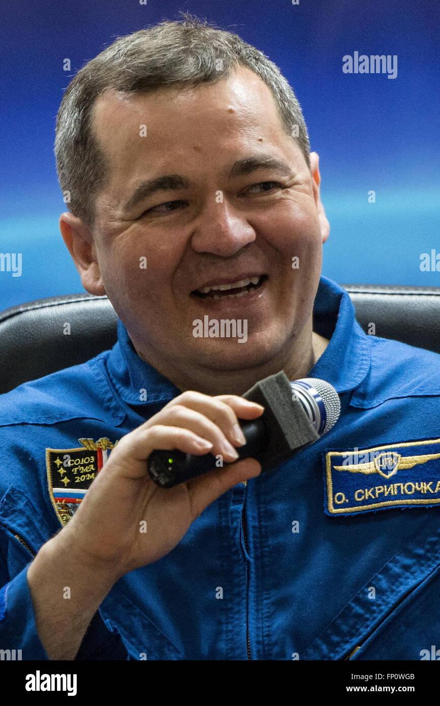 Baikonur, Kazakhstan. 17th Mar, 2016. International Space Station Expedition 47/48 main crew member, cosmonaut Oleg - Stock Image