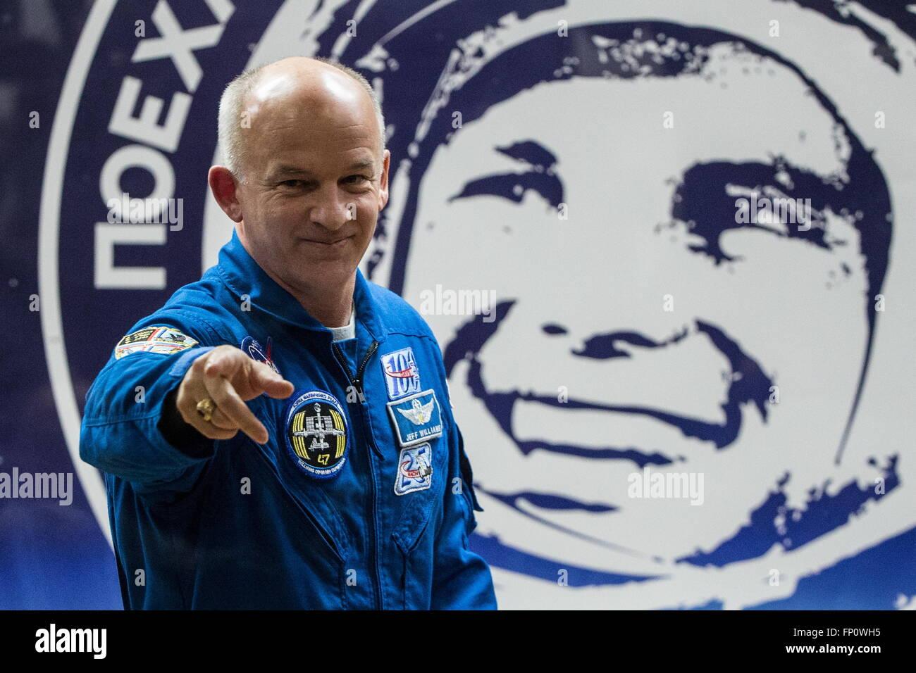 Baikonur, Kazakhstan. 17th Mar, 2016. International Space Station Expedition 47/48 main crew member, astronaut Jeffrey - Stock Image
