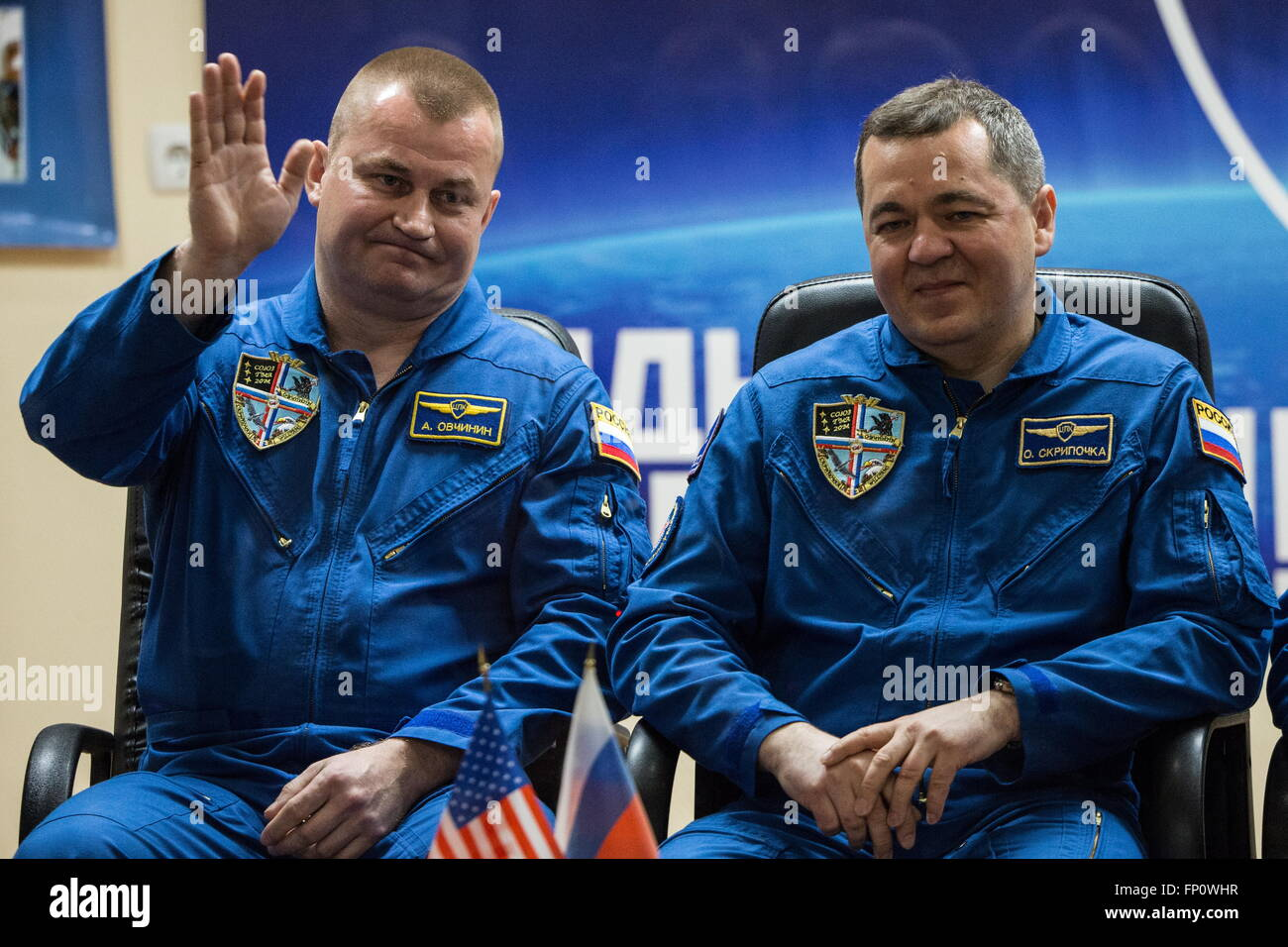Baikonur, Kazakhstan. 17th Mar, 2016. International Space Station Expedition 47/48 main crew members, cosmonaut - Stock Image
