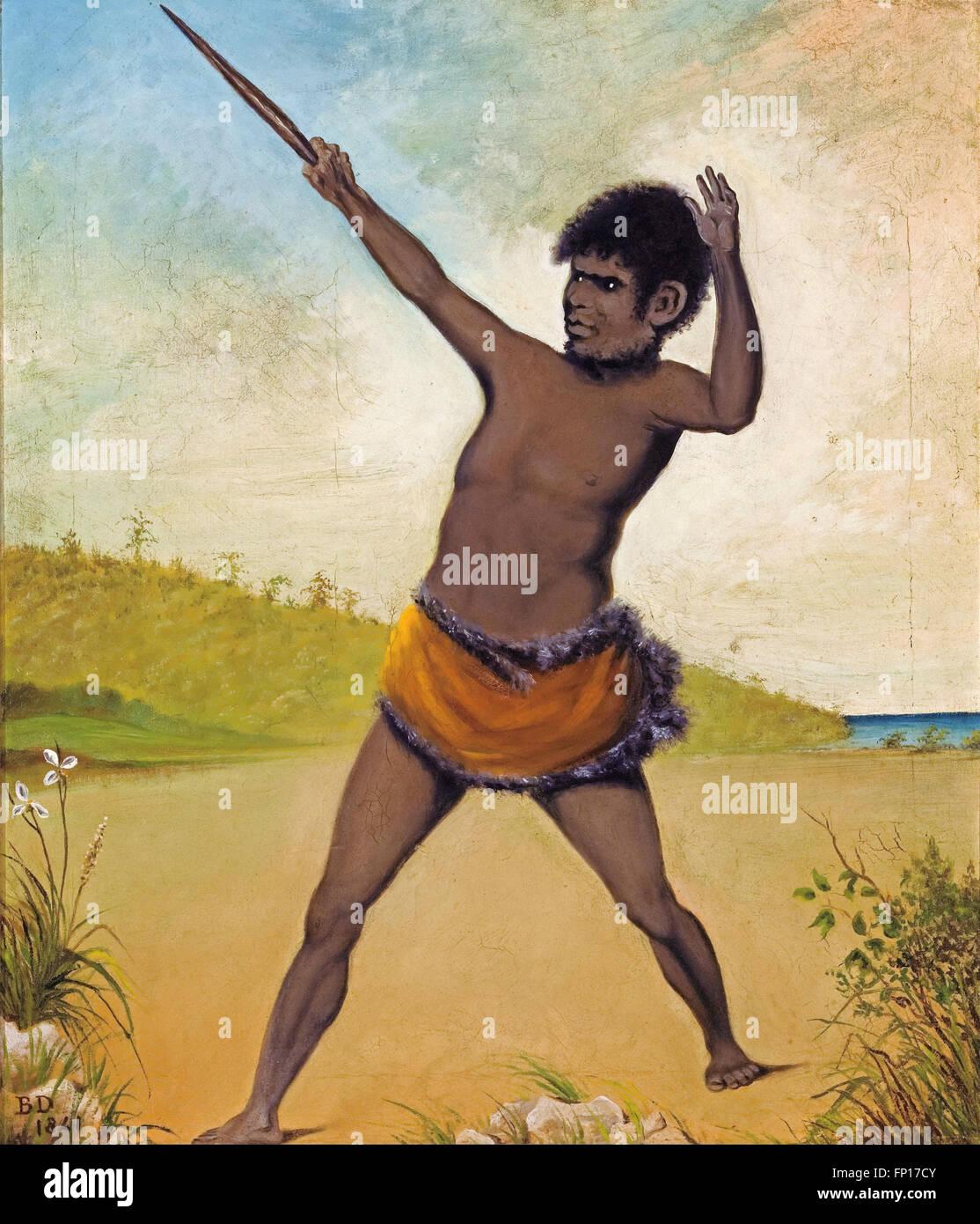 Benjamin Duterrau - Jack, a Tasmanian Aboriginal, holding a club - Stock Image