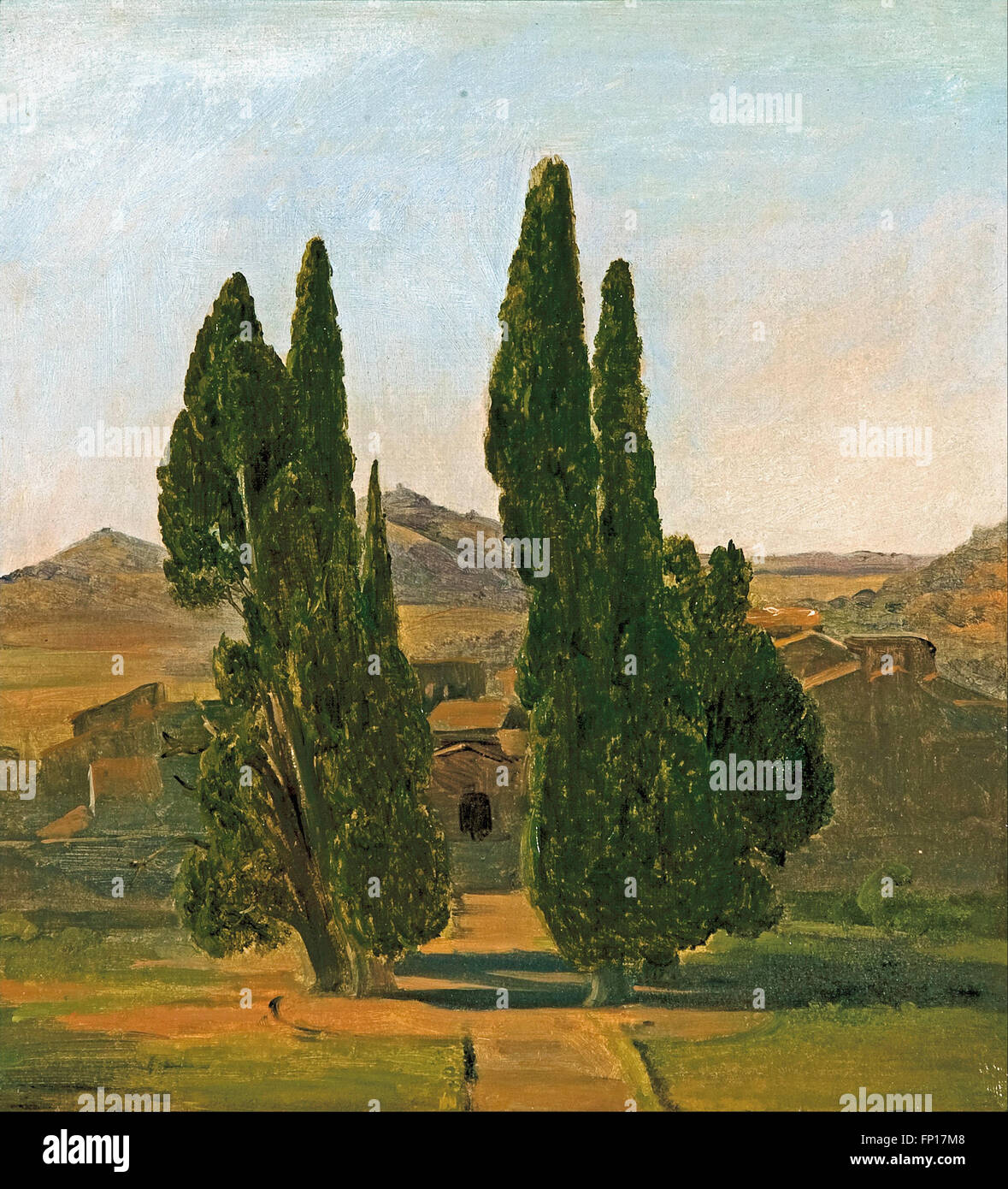 Charles Eastlake - Cypress trees at the Villa d'Este Stock Photo
